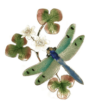 Bovano Green Winged Dragonfly with Flower Enameled Copper Wall Art | W7614