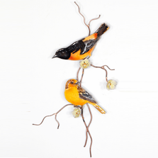 Bovano Baltimore Orioles, two with flowers Enameled Copper  Wall Art | W4452