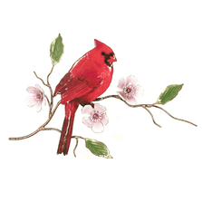 Bovano Cardinal on Cherry Blossom Enameled Copper Wall Art | W4450