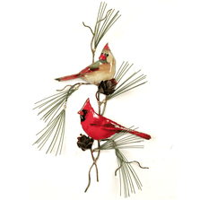 Bovano Cardinal Pair with 3D Pine Cone Enameled Copper Wall Art | W4442