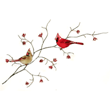 Bovano Double Cardinals Enameled Copper Wall Art   W4441