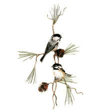 Bovano Two Chickadees with 3D Pine Cones Enameled Copper Wall Art | W4435
