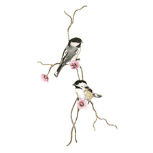 Bovano Two Chickadees on Pink  Flower Branch Wall Art | W4434