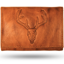 Deer Skull Men's Leather Trifold Tan Wallet
