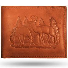 Deer Buck and Doe Scene Leather Bifold Wallet