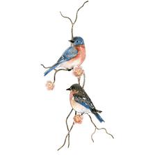 Bovano Two Bluebirds on Peach Flower Branch Wall Art | W4432