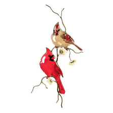 Bovano Two Cardinals on Yellow Flower Branch Wall Art | W4431