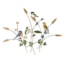 Bovano Songbirds in Flower Meadow Enameled Copper  Wall Art | W4425