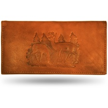 Deer Pair Scene Leather Checkbook Cover