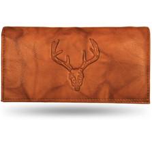 Deer Skull Leather Checkbook Cover