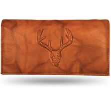 Deer Skull Leather Checkbook Cover