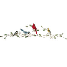 Bovano Songbirds with Dogwood Bough Enameled Copper  Wall Art | W4416
