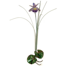 Bovano Single Purple Iris with Patina Grass Enameled Copper Wall Art | F97P
