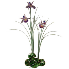 Bovano Triple Purple Iris with Patina Grass Enameled Copper Wall Art | F99P