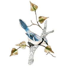 Bovano Blue Jay on Birch Enameled Copper  Wall Art | W4178