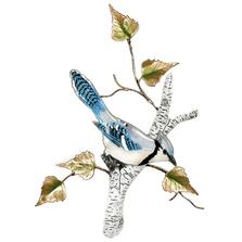 Bovano Blue Jay on Birch Enameled Copper  Wall Art | W4178