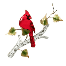 Bovano Cardinal on Birch Enameled Copper  Wall Art | W4176