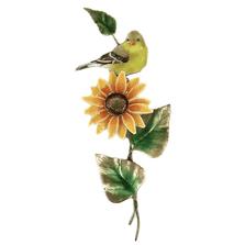 Bovano Female Goldfinch on Sunflower Enameled Copper  Wall Art | W4167