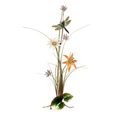 Bovano Dragonfly with Small Wildflower Garden Wall Art | F109