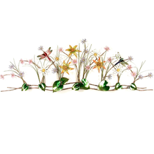 Bovano Flower Garden with Dragonflies Enameled Copper Wall Art | F113