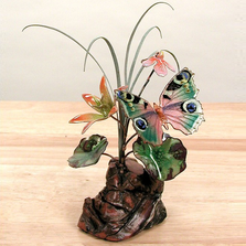 Bovano Butterfly and Flowers Enameled Copper Tabletop Sculpture | FM10