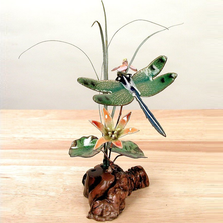Bovano Green Winged Dragonfly and Flowers Tabletop Sculpture | FM12