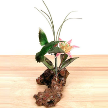 Bovano Hummingbird and Flower 3D Tabletop Sculpture | FM29