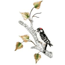 Bovano Downy Woodpecker on Birch Enameled Copper  Wall Art | W4152