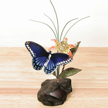 Bovano Blue Butterfly and Daylily Tabletop Sculpture on Manzanita Wood | FM39