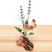 Bovano Butterfly, Lily, Lavender Tabletop Sculpture on Manzanita Wood | FM44