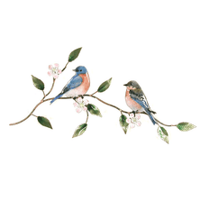 Bovano Bluebird Pair on Apple Blossom Enameled Copper Wall Art | W4134