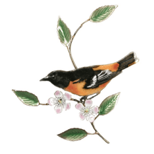 Bovano Baltimore Oriole on Apple Blossom Enameled Copper Wall Art | W4121
