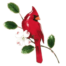 Bovano Male Cardinal with Dogwood Enameled Copper Wall Art | W4112