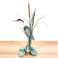Bovano Blue Heron facing Left in Cattails Tabletop Sculpture | T17L
