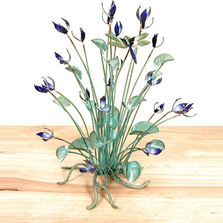 Bovano Blue Flowers with Dragonfly Enameled Copper Tabletop Sculpture | T18