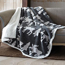 Deer Jacquard Fleece Sherpa Throw Blanket | DTR3003