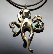 Octopus Bronze Pendant Necklace with Lapis | Anisa Stewart | BRS1023