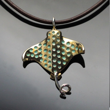 Spotted Eagle Ray Bronze Pendant Necklace | Anisa Stewart | BRS1024
