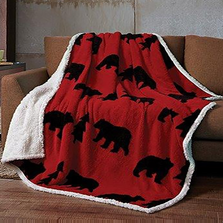 Bear Jacquard Fleece Sherpa Throw Blanket | DTR3010