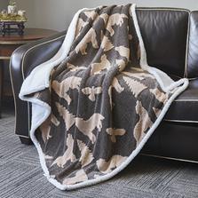 Wolf Jacquard Fleece Sherpa Throw Blanket | DTR3013