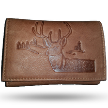 Deer Head Scene Men's Leather Trifold Tan Wallet | Rico | 60001-328