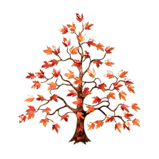Bovano Red Maple Tree Enameled Copper Leaves Wall Art | W102