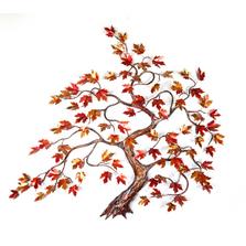 Bovano Windswept Red Maple Tree Enameled Copper Wall Art | W103