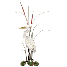 Bovano Small White Egret with Cattails Enameled Copper Wall Art | W362