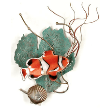 Bovano Anemonefish with Sea Fan Enameled Copper Wall Art | W1949
