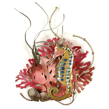 Bovano Rainbow Seahorse with Coral Enameled Copper Wall Art | W1948
