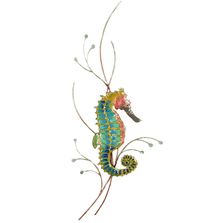 Bovano Rainbow Seahorse, Right Facing Enameled Copper Wall Art | W1923R