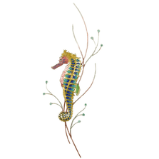 Bovano Rainbow Seahorse, Left Facing Enameled Copper Wall Art | W1923L