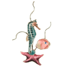 Bovano Seahorse with Star Fish Enameled Copper Wall Art | W1928