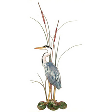 Bovano Small Great Blue Heron with Cattails Facing Left Wall Art | W363L